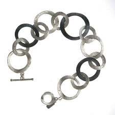 ITALIAN  DOUBLE TEXTURED MIXED LINK STERLING SILVER BRACELET - NWT $600