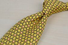 Hermes Yellow Stick Woven Orange Circular 100% Silk Tie EUC France