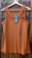 Yessica Linen Blend Oversized Vest Top UK 10/12 US 6/8 EU38/40 Brown Lace Design