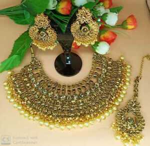 Indian Gold Tone Bridal Bollyood Wedding Fashion Jewelry Necklace Set