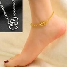 Women Elegant Double Love Heart Sandal Ankle Anklet Foot Jewelry Beach Bracelet
