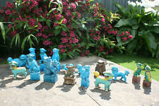 Lot 16 Pcs Chinese Porcelain Hand Painted Coloured Foo Dog Figurine Statue
