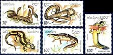 LAOS N°1134/1138** Reptiles, serpents..., 1994 Snakes, lizards Sc#1178-1182  MNH