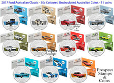 2017 50c Ford Australian Classic - 50c Coloured UNC Coins  - Set of 11 coins