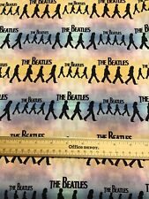 """CUSTOM  THE BEATLES Cotton Fabric Faces, Musical Notes, Tickets REMNANT 13""""x18"""""""