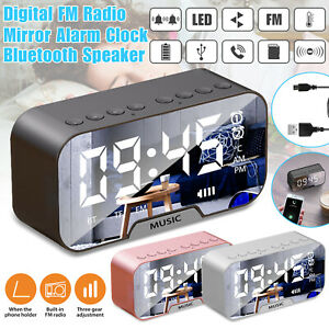 Digital Alarm Clock FM Radio Wireless Bluetooth Mirror LED With Speaker Portable