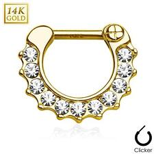Ten Paved CZ Single Line 14Kt Yellow Gold  Septum Clicker Hanger Nose Rings F82