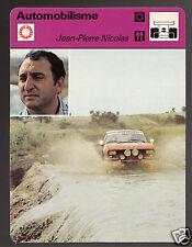JEAN-PIERRE NICOLAS African Safari Rally Auto Race 1978 FRANCE SPORTSCASTER CARD