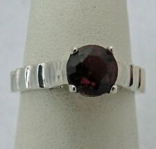 ESTATE Sterling Silver 6.5 mm ROUND DIAMONIQUE GARNET SOLITAIRE RING sz 7.5