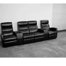 Black Leathersoft Upholstery 4-Seat Home Theater Recliner with Storage Consoles