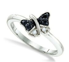 Black & White Diamond Butterfly Ring 100% .925 Sterling Silver .11ct Petite - NR