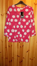 Adini 100% polyester crushed polygeorgette v neck button front bls spot print XS
