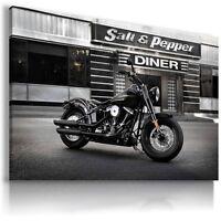HARLEY DAVIDSON BLACK MOTOR BIKE Large Wall Canvas Picture ART  HD4 MATAGA .