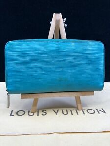 LV1440 LOUIS VUITTON Turquoise Epi Leather Zippy Zip Around Long Wallet USA