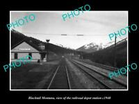 OLD LARGE HISTORIC PHOTO OF BLACKTAIL MONTANA, THE RAILROAD DEPOT STATION c1940