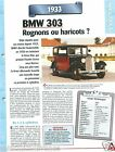 BMW 303 Berline 6 Cyl. 1933 Germany Allemagne Car Auto Retro FICHE FRANCE