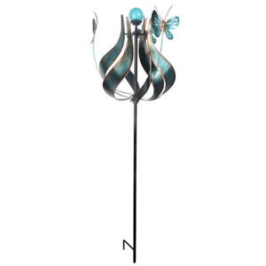 Outdoor Tulip Kinetic Solar Light Windmill Teal Durable Outdoor Accent Decor