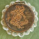 vtg copper tin punched art girl deco wall hanging plaque lace trim farmhouse