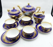 Antique hand painted royal blue Royal Vienna porcelain tea service for 5