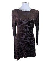 Vintage Balagan Sydney Size 8/10 Dark Brown Bodycon Sheer Floral L/S Dress