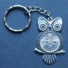1967 50th birthday lucky Sixpence Owl key ring Charm pendant present + gift box