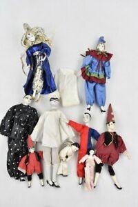 Vintage Bundle Pierrot Pierrette Jester Clown Porcelain Dolls x9 Collection