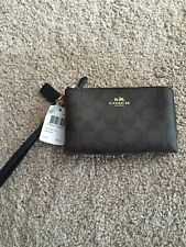 Coach Signature PVC Double Corner Zip Wristlet New with Tags! Free Shipping