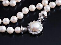 Akoya Zucht Perlen Collier Kette Zirkonia 925 Sterling Silber ca. 31,50 Gramm