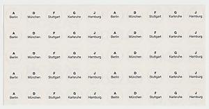 50 Buchstaben Prägestätten A+D+F+G+J Etiketten Klarsicht Beschriftung Münzen