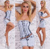 Women's Denim Jeans Strapless Mini Dress + Belt -  S/M/L/XL