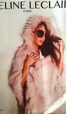 Poncho abrigo piel zorro y conejo color rosa empolvado