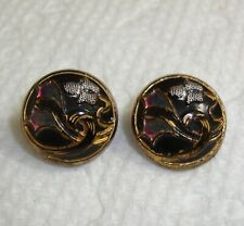 """Lot of 2 Antique Art Nouveau Painted Glass Buttons 1/2"""""""