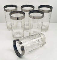 Vintage Libbey Glass Tumblers Silver Band Etched Squares Ovals Set Of 6