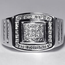 Mens Invisible Set Princess Cut Diamond Signet Pinky Ring 14K White Gold 1.01ct
