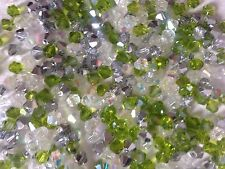 100 Austrian Crystal Glass Bicone Beads - White/Lime Green/SilverAB Mix - 4mm