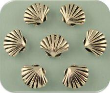 2 Hole Beads Seashells Scallop SILVER Shells OCEAN SEA BEACH Metal Sliders QTY 7