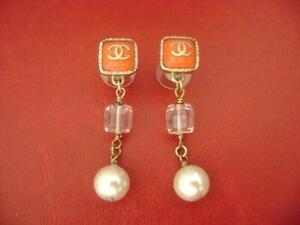 Chanel  CC logo red stone w/pearl dangle drop pierced earrings