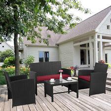 4 PC Rattan Patio Furniture Wicker Outdoor Garden Coversation Sectional Sofa Set