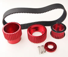"""1.5"""" Notch Gilmer Drive Belt Kit & Pulley For 12A 13B 20B 15mm RX7 FD FC RX3 Red"""