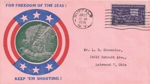 1945 Buffalo, New York Cover w Classic WWII Freedom of the Seas Patriotic Cachet