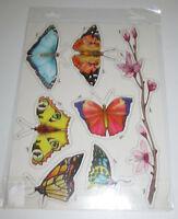 Planche de Stickers pour Refrigérateur Papillons Format Planche 35 x 25 cm NEUF