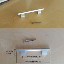 Maniglia Satinata da Cucina, Armadio, Cassetto. Alluminio Satinato, 96mm  Design