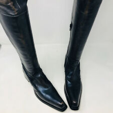 Gianni Barbato Black Brown Leather Over the Knee Pointed Toe Boots 2400-548-3720