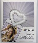 Polaroid Clip On Selfie Light Multi Light Mode Heart Shaped Universal New In Box