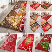 Non-Slip Large Christmas Mat Carpet Floor Rug Santa For  Kitchen Bathroom Decor