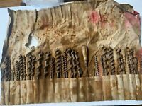 Vintage Large Irwin Auger Brace Bit Set In Cloth canvas Holder