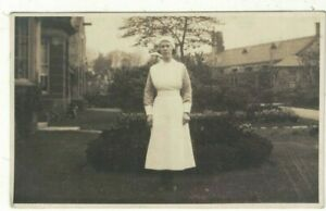 Real Photo Postcard of a Domestic Servant in the Garden 1935 Social History