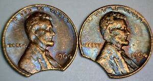1964 & 1964d LARGE CLIPPED ERROR Lincoln Cent NICE 2 Coin LOT Clip PAIR #15   NR
