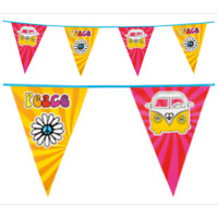 GROOVY FLAG BANNER PARTY HANGING DECORATION HIPPIE 60's PEACE SIGN KOMBI VAN