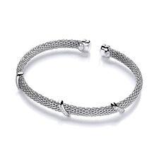 J JAZ Rebecca Sterling Silver Cubic Zirconia Torque Mesh Bracelet Bangle